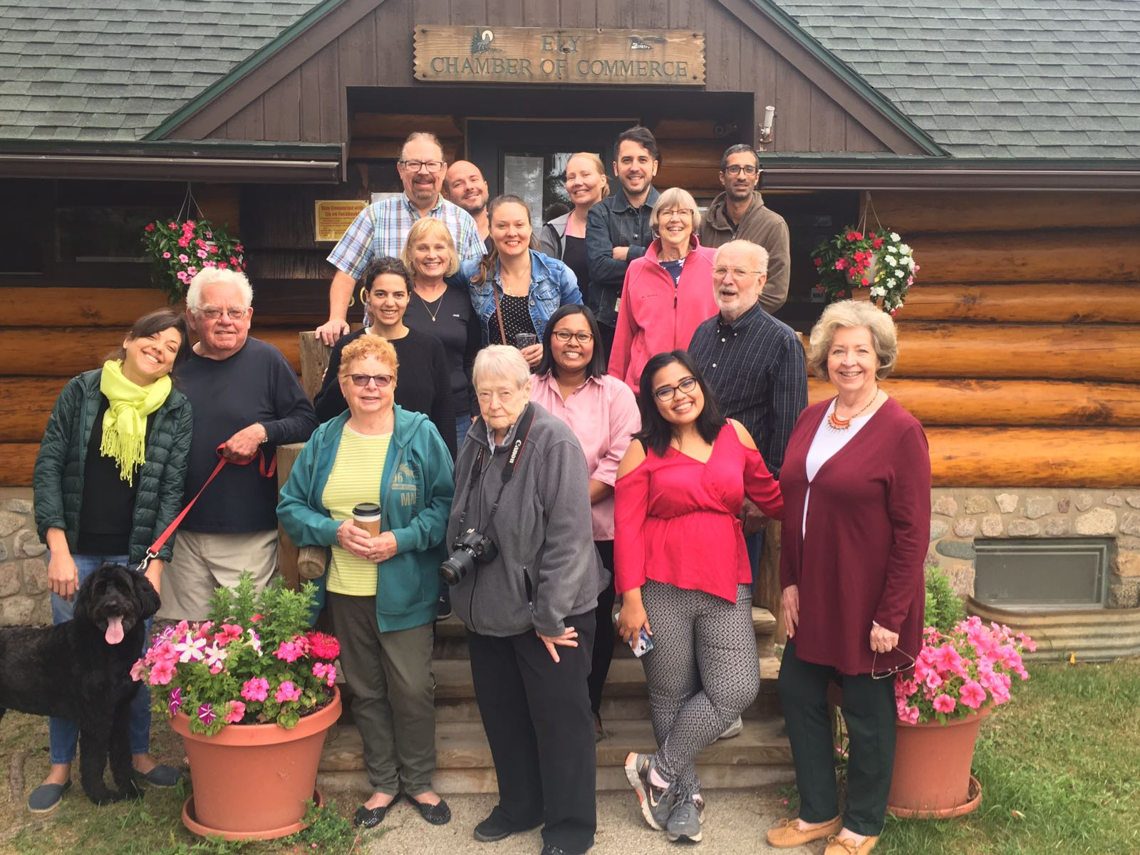 WPI fellows, host families, associates and lovely dog at Ely, Minn.